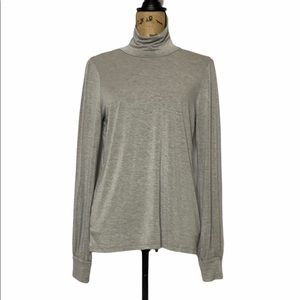 LAmade Grey Turtleneck Key Hole Back Top M
